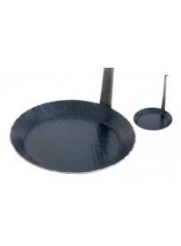 Poêle à frire, poêle de service en fer forgé avec manche vertical