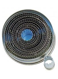 Set d'emporte-pièces ondulés de forme ronde en fer blanc