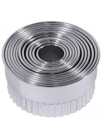 Set d'emporte-pièces ondulés de forme ronde en acier inoxydable