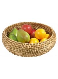 Corbeille à fruits ronde en bambou et rotin