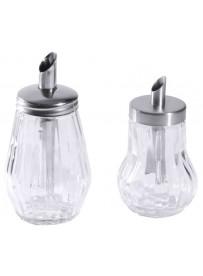 Dispenseur à sucre en verre avec couvercle en acier inoxydable 18/10
